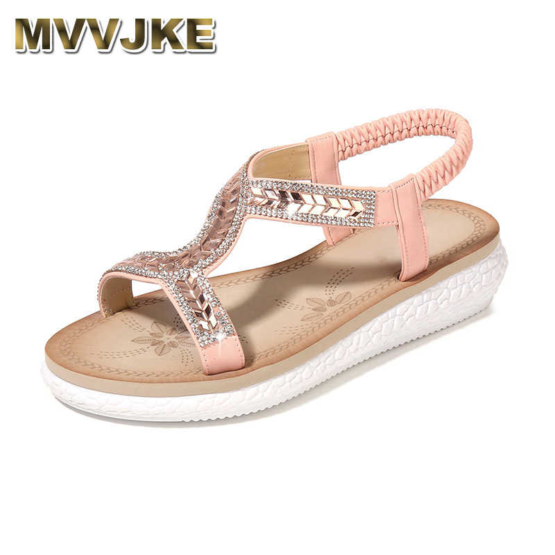 MVVJKE Giày Sandal Nữ năm 2019 Sự Thoải Mái Đi Biển Nữ Giày Tập Đi Mùa Hè Nền Tảng Sandal Pha Lê Giày người phụ nữ