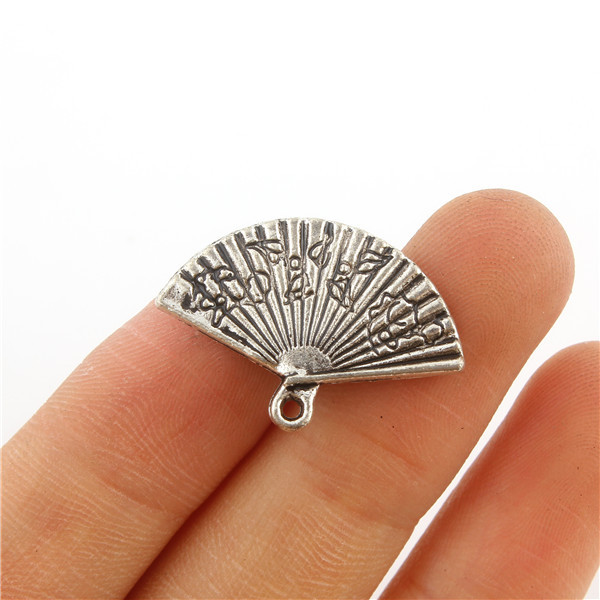 10PCS CHINESE FAN Tibetan Silver 3D Charms Pendants Beads DIY Jewelry Making 13*24mm