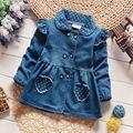 Мода весна осень детские дети детские младенцы девушки куртки и пиджаки джинсы dot Полька сердце принцессы Roupas пальто S4530