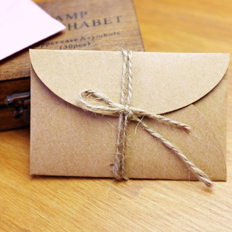 50 шт./компл. Винтаж любовь небольшой Коричневый Розовый Крафт Бланк Мини бумажные конверты Свадебное приглашение в конверте/gilt конверт/2 цве...