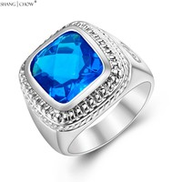925 Sterling Silver Ring 2016 Summer Jewelry With Hugh Blue Topaz Stone For Men Wedding Anniversary