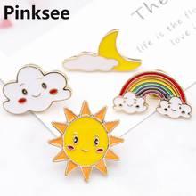 Kawaii Classic Cartoon Style Enamel pin Badge Buttons Brooch Anime Duck Rainbow Moon Sun Lovers Shirt Denim Jean scarf lapel