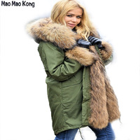 MaoMaoKong Fur Parka Winter Women Jacket Warm Long Military Parka Real Real Rex Rabbit Fur Lining Hood Coat Genuine Raccoon Fur