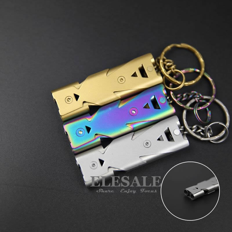 New Stainless Steel Emergency Survival Whistle High dB For Outdoor Camping Emergency Rescue EDC Key Chain Pet Training Whistle outdoor survival aluminum whistle keychain silver