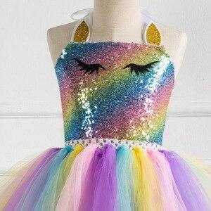 Image 4 - Kızlar Unicorn Pony TUTU elbise altın kafa bandı ile kanatları çocuklar pullu prenses parti elbise çocuk Unicorn kostümleri 2019 yeni 2  10T