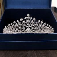 Full Zircon Tiara Bride Crown Diadem Mariage Wedding Hair Accessories Bride Jewelry Bijoux Cheveux Tocados Para Novia WIGO0957