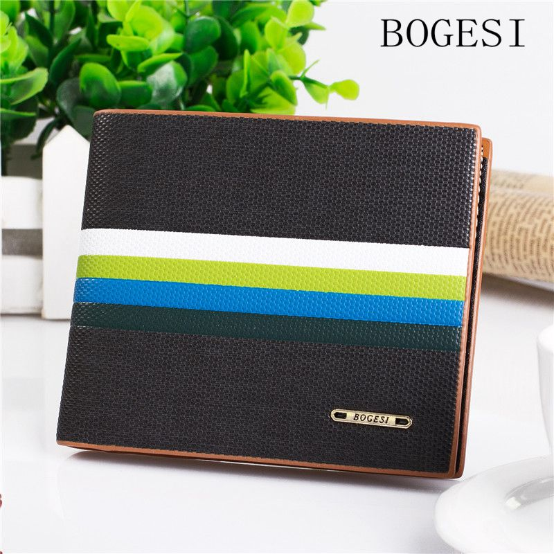 BOGESI Hot CollegeBrand weaving Men's Wallet Stitching Short Men Wallets Stripes Soft Male Purse With Card Holder Dollar Price цена и фото