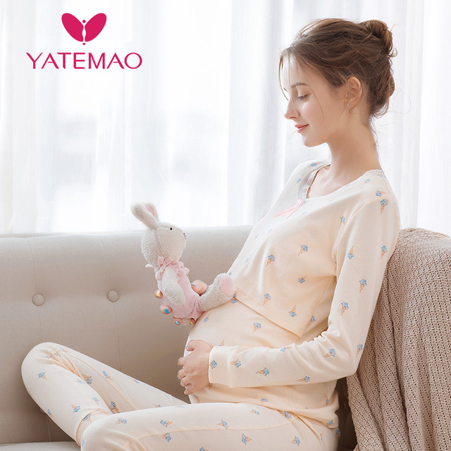 YATEMAO Maternity Nursing Tops Women Pregnancy Clothes Maternity Clothing Breastfeeding Top Long Sleeve