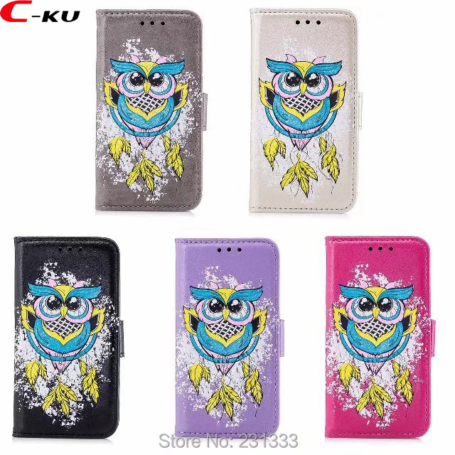 C-ku Glitter Bling OWL Wallet Leather Pouch Case For Samsung Galaxy A3 A5 2017 J3 J5 J7 J310 J510 TPU Stand ID Card Cover 1pcs