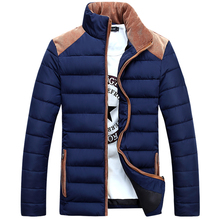 2015 New Arrival Men Winter Jackets Men's Coat leather sleeve splicing design down cotton padded jacket men M~3XL