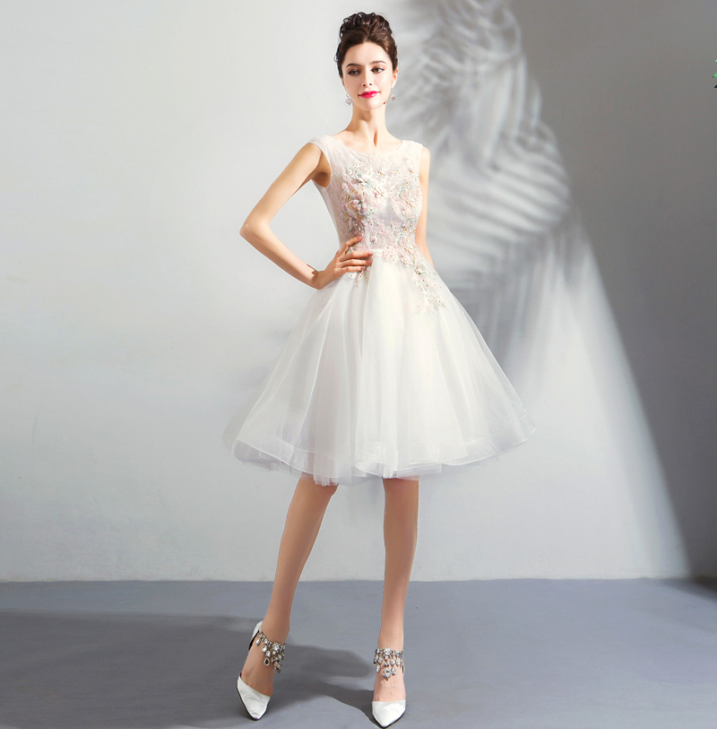 472d02948 Little White Cocktail Dresses A line Lace Tulle Flower Crystal Knee ...