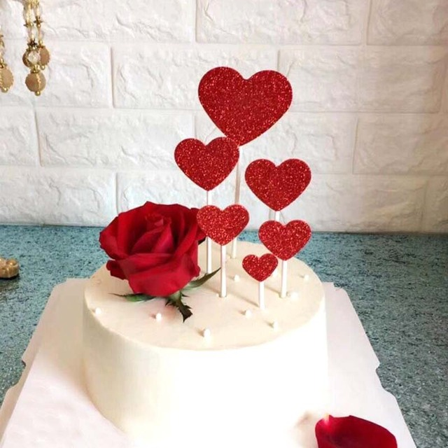 7pcs Set Red Heart Shape Cake Topper With Toothpick Decorations For Wedding Birthday Party Cute Lovely Gifts Supplies