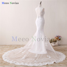 Robe De Mariage Lace Mermaid Wedding Dresses 2017 Applique Vestido De Noiva Zipper Back Trouwjurk White