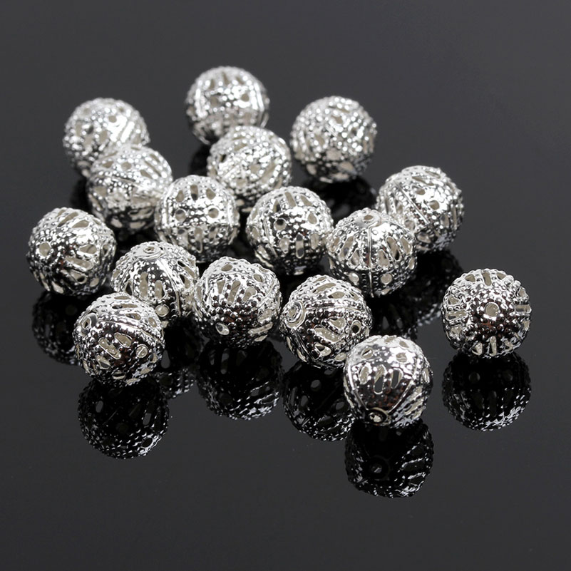 Silver Plated Hollow Flower Spacer Beads 6mm 8mm 10mm Free Shipping D0303 6258aa55aeb3