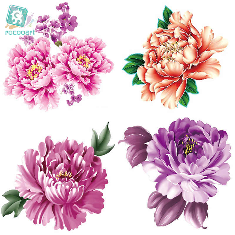 Rocooart CCFlowers Color Flowers Floral Peony Designer Temporary Tattoo Sticker Body Art Water Transfer Fake Taty for Face