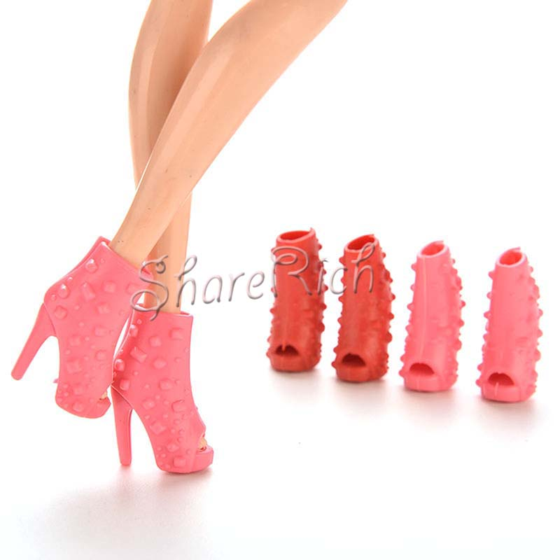 10 Pairs toys Mix Colors High Heels Shoes Fish Head Shoes For Barbies Color Random