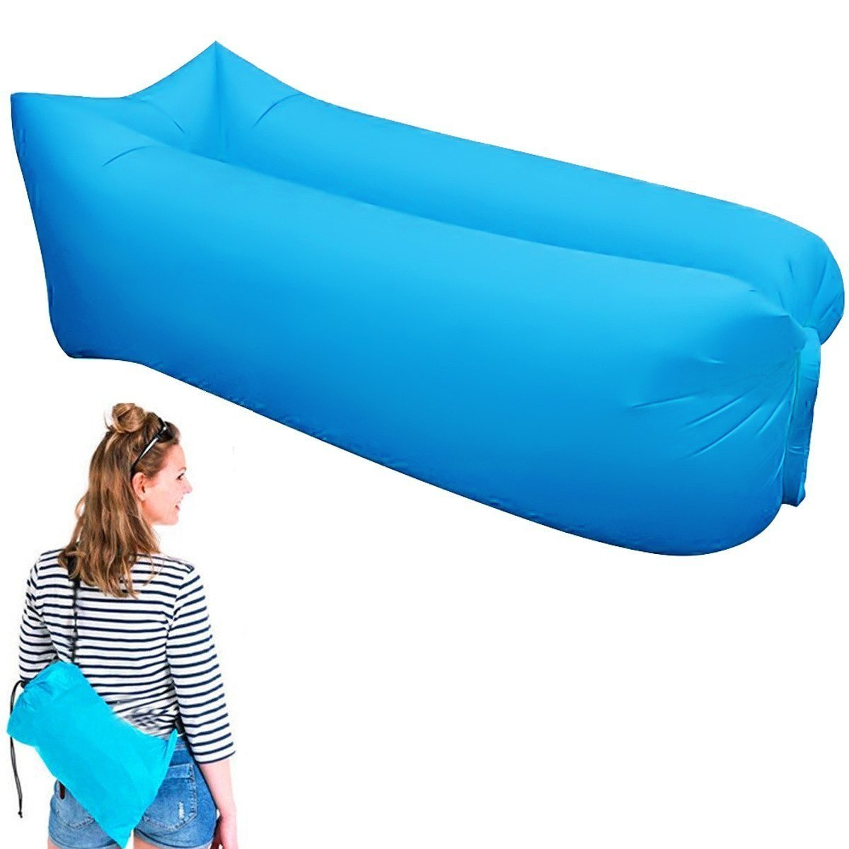 Square fast inflatable lounger air sleep lazy bag camping sofa portable beach outdoor hangout bag laybag hamac gonflable plage ...