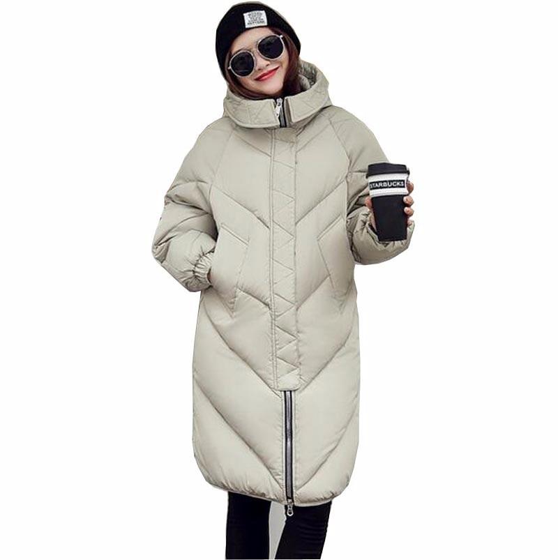 Yeni Kadın Kış Uzun Ceket ve Ceket 2016 Sıcak Katı aşağı Pamuk Kapüşonlu Yastıklı Ceket Gevşek Artı Boyutu Düz Parka AA102