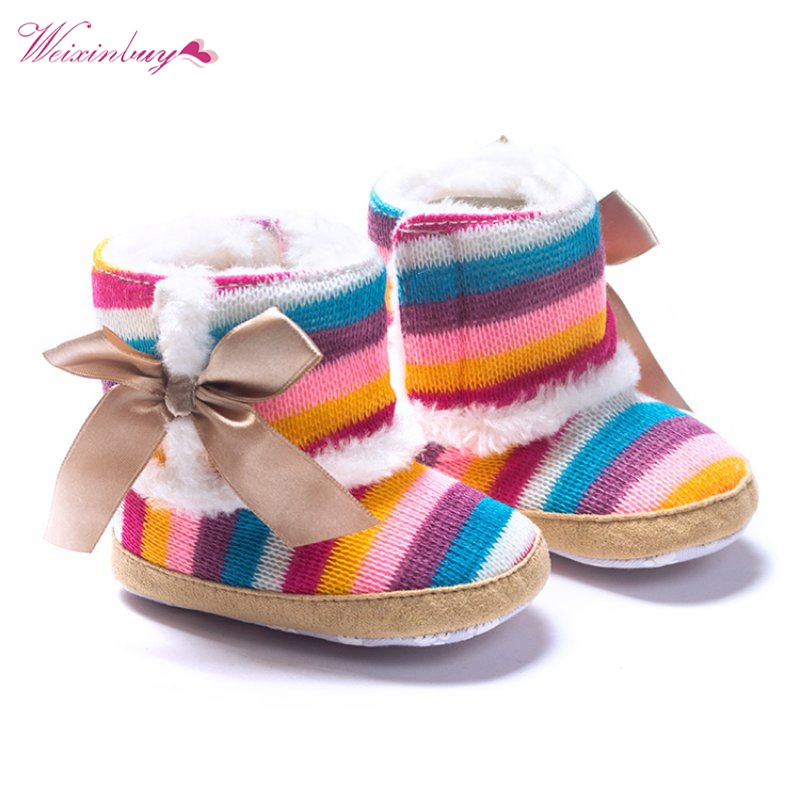 Newborn Baby Colors Striped Wool Infant Cotton Padded Shoes Boots For Winter And Snow