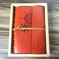 Classic Notebook Vintage A5 PU Leather Blank Pages Vintage Notebooks Pirate Copper Plated Sea Anchor Travel