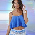 New Sexy Women Crop Top Vest Ruffle Layers Bandage Backless Spaghetti Strap Solid Bralet Women Top Casual Blouse