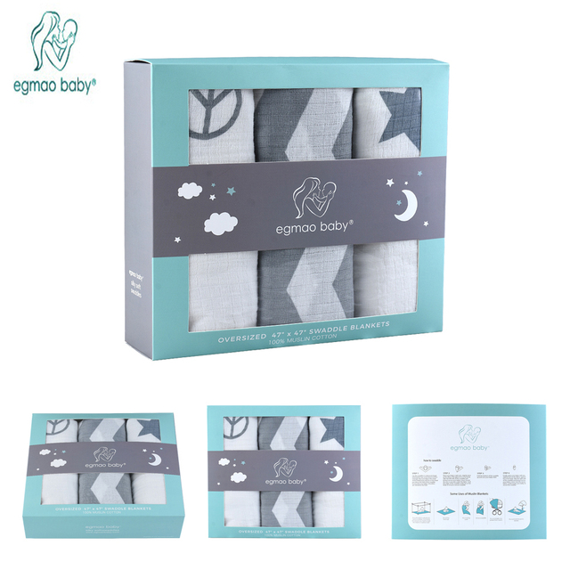 3 Pack Premium Organic Cotton Baby Swaddle Blankets, Large 47 x 47 inch Muslin Swaddle Blankets, Baby Newborn Gift Sets