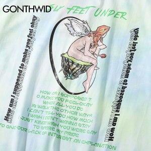 Image 4 - GONTHWID melek gül baskı batik Tee gömlek Streetwear yaz erkekler moda Hip Hop Casual gömlek Harajuku kısa kollu üstleri