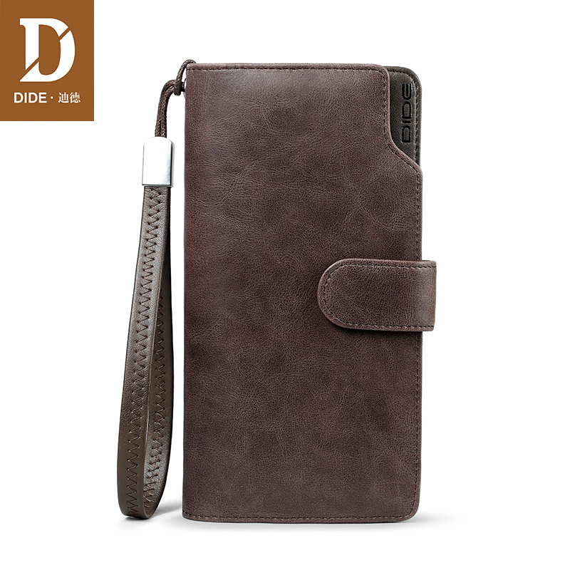 Купить с кэшбэком DIDE Genuine Leather Men Wallets Double Zipper Money Clip Male Walet Vintage Male Purses Long Phone Wallet Man's Clutch Bags 617