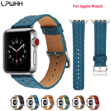 LPWHH Braided Cow Leather Watch band For Apple Series 4 3 2 1 Soft Business Strap Genuine Iwatch Band 38 40 42 44mm