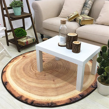 New Round Carpet Wood Grain Creative Personality Bedroom Living Room Decoration Floor Mat