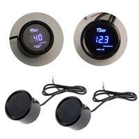 52mm Black Shell Blue Digital LED BackLight Car Moter Water Temperature 12V Voltage Temp Auto Volt