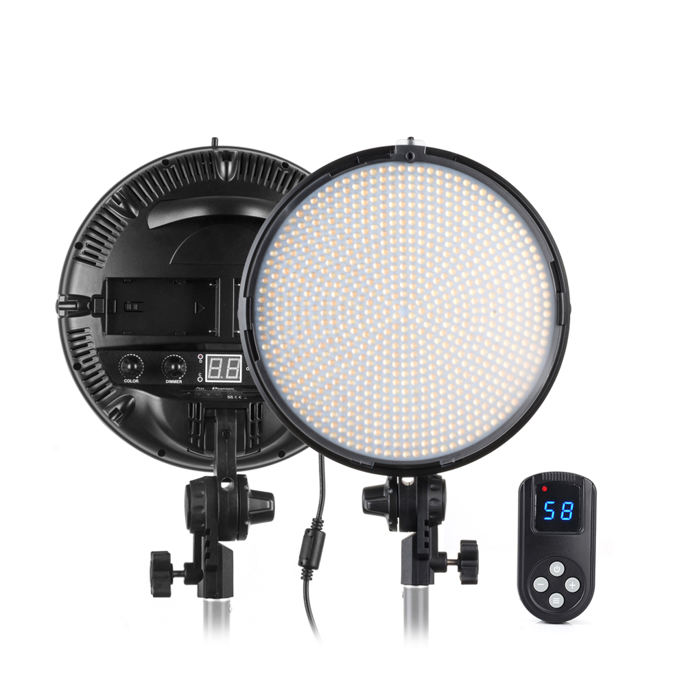 Tolifo 800 LED Video Studio Ring Light Bi-color 3200K/5600K Dimmable +2.4G Remote+Handle+AC Adapter for Camera Photo Light Stand