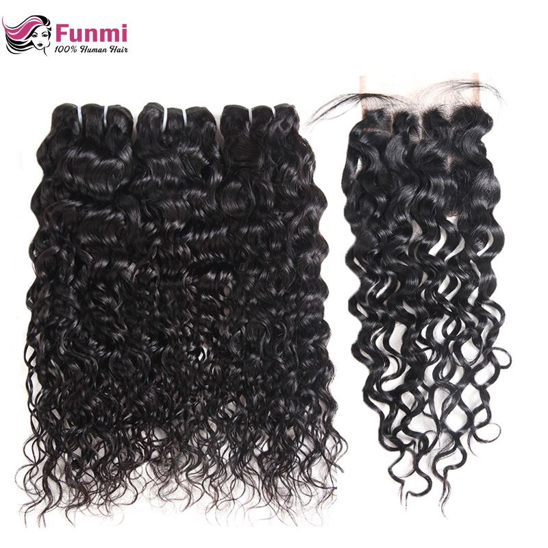 Malaysian Water Wave Virgin Hair Bundles With Closure 4PCS Unprocessed Natural Color Human Hair Water Wave With Closure Funmi