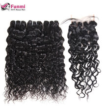 Malaysian Water Wave Virgin Hair Bundles with Closure 4PCS Unprocessed Natural Color Human Hair Water Wave with Closure Funmi(China)
