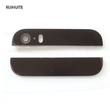 RUIHUITE New Rear Top Bottom Glass Lens Cover For iPhone 5S With+Camera Flash Lens