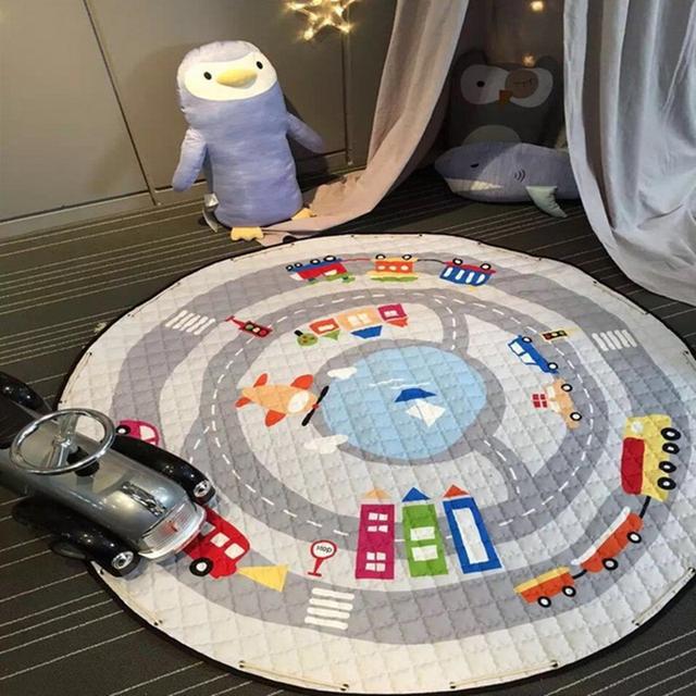 150 cm multifunción Baby Play Mat Playmat Juguete Niños Bolsa de Almacenamiento Inferior antideslizante Portable Llevar Jugando decoración de la habitación del piso esteras estera