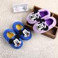 100% niños del algodón minnie de Dibujos Animados de invierno Zapatillas niños niñas zapatos caseros calientes lindos niños zapatos de invierno zapatos de interior suaves