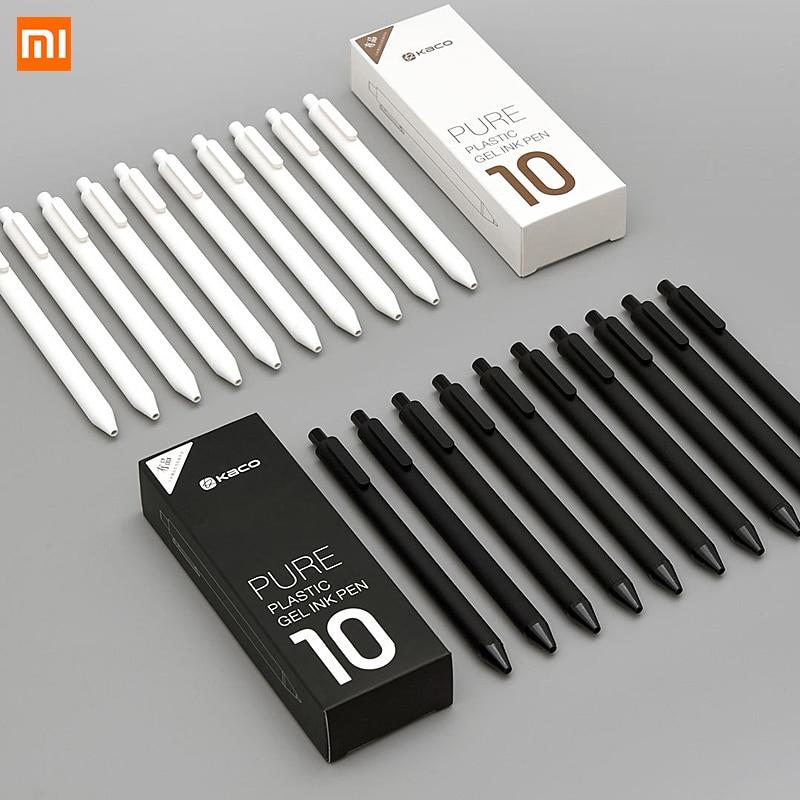 10 unids/lote Xiaomi KACO 0,5mm Xio mi firma P E N chica tinta escritura suave Durable firma negro recarga
