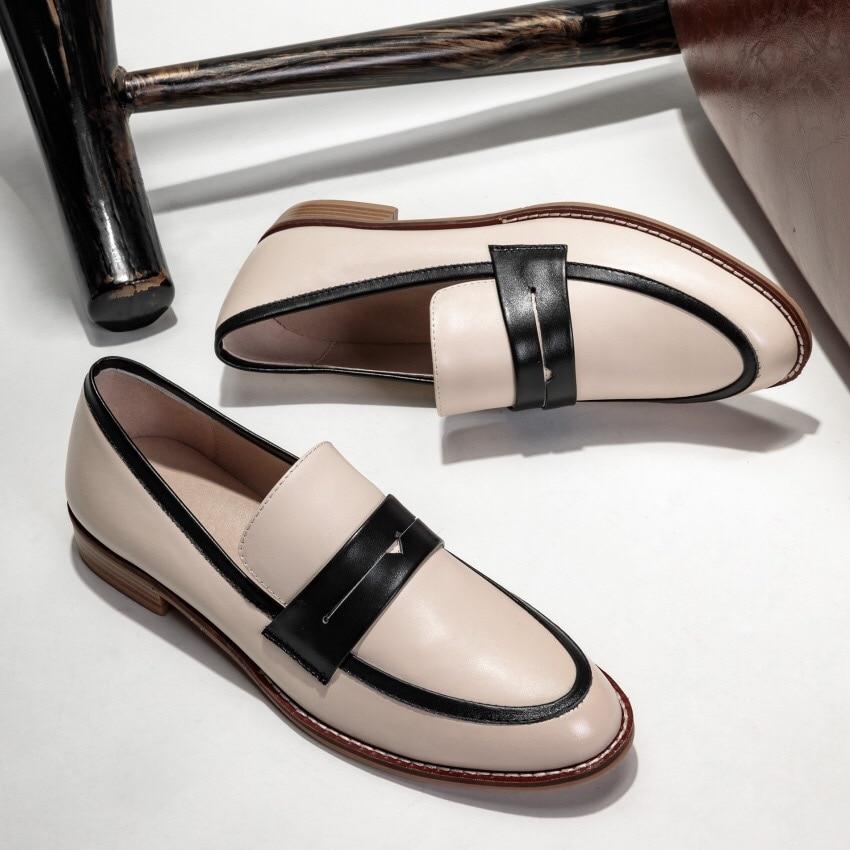 Zapatos planos de mujer Donna in Slip on mocasines de cuero genuino zapatos de mujer casuales cómodos otoño primavera zapatos de mujer 2019 nuevo-in Zapatos planos de mujer from zapatos    2