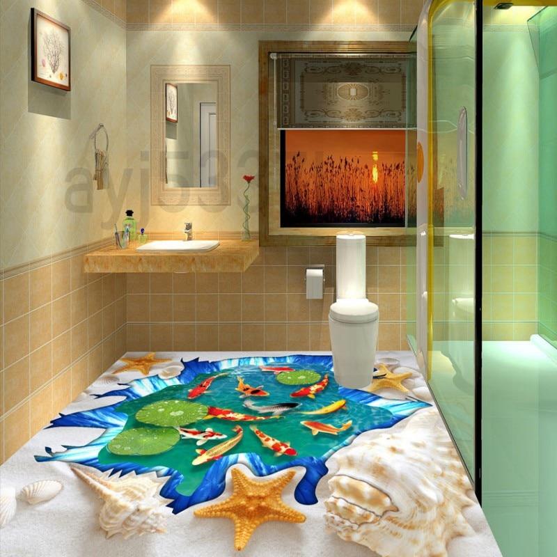 Free Shipping bedroom bathroom square Beach floats Koi 3D waterproof floor wallpaper mural free shipping shockwave seabirds beach