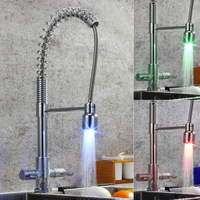 Deck Mounted Dual Holder Single Hole Brass Pull Down Kitchen Sink Faucet With LED Mixer Tap