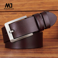 MEDYLA New Fashion Genuine Leather Man's Belt Alloy Pin Buckle Quality Soft Leather Brand Brown Belt For Men Gift MD10