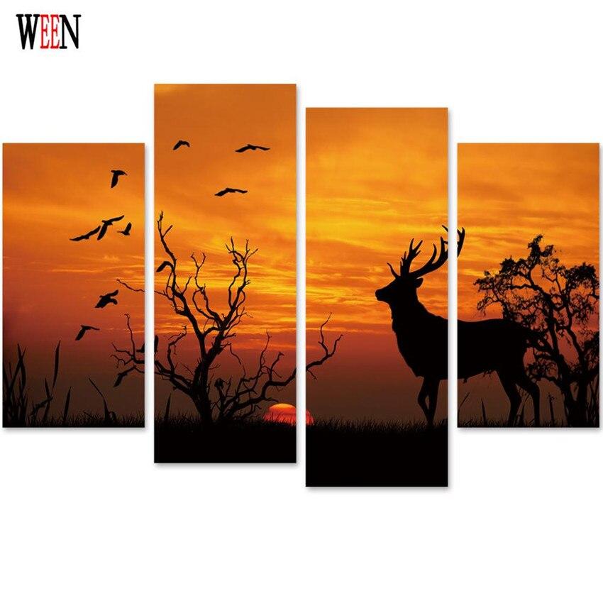 Ween Senja Rusa Hewan Gambar Dinding Kanvas Art 4 Pcs Modern