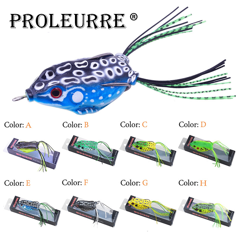 Proleurre Rubber Frog Fishing Lure Topwater Silicone Wobblers Artificial Soft Frog Pesca 5.5cm 12g Bass Pike Fishing Tackle anmuka frog fishing lures kit snakehead lure topwater floating frog baits with box pesca isca artificial