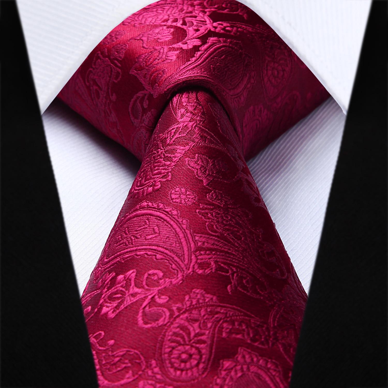 66d1a55e48ed Party Wedding Classic Fashion Pocket Square Tie Woven Men Burgundy Tie  Paisley Necktie Handkerchief Set#TP711U8S-in Men's Ties & Handkerchiefs  from Apparel ...