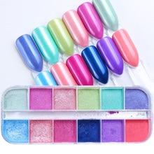 Mezcla de 12 Colores/juego de purpurina para uñas, pigmento brillante, polvo de inmersión de cromo fino para manicura, polvo, lentejuelas, decoración, TRZGF 1