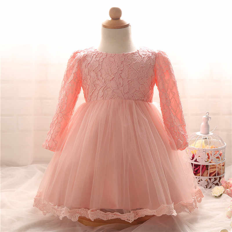 f5b735c30c699 ... Newborn Baptism Dress For Baby Girl White First Birthday Party Wear  Cute Lace Long Sleeve Christening ...