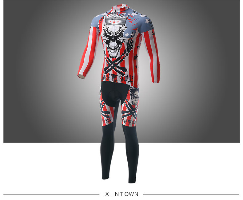 XINTOWN Skull Soldier 2016 Autumn Full Sleeve Jersey Long Pants Cycling MTB Riding Sport Suits bicicleta Ciclismo Clothing Set