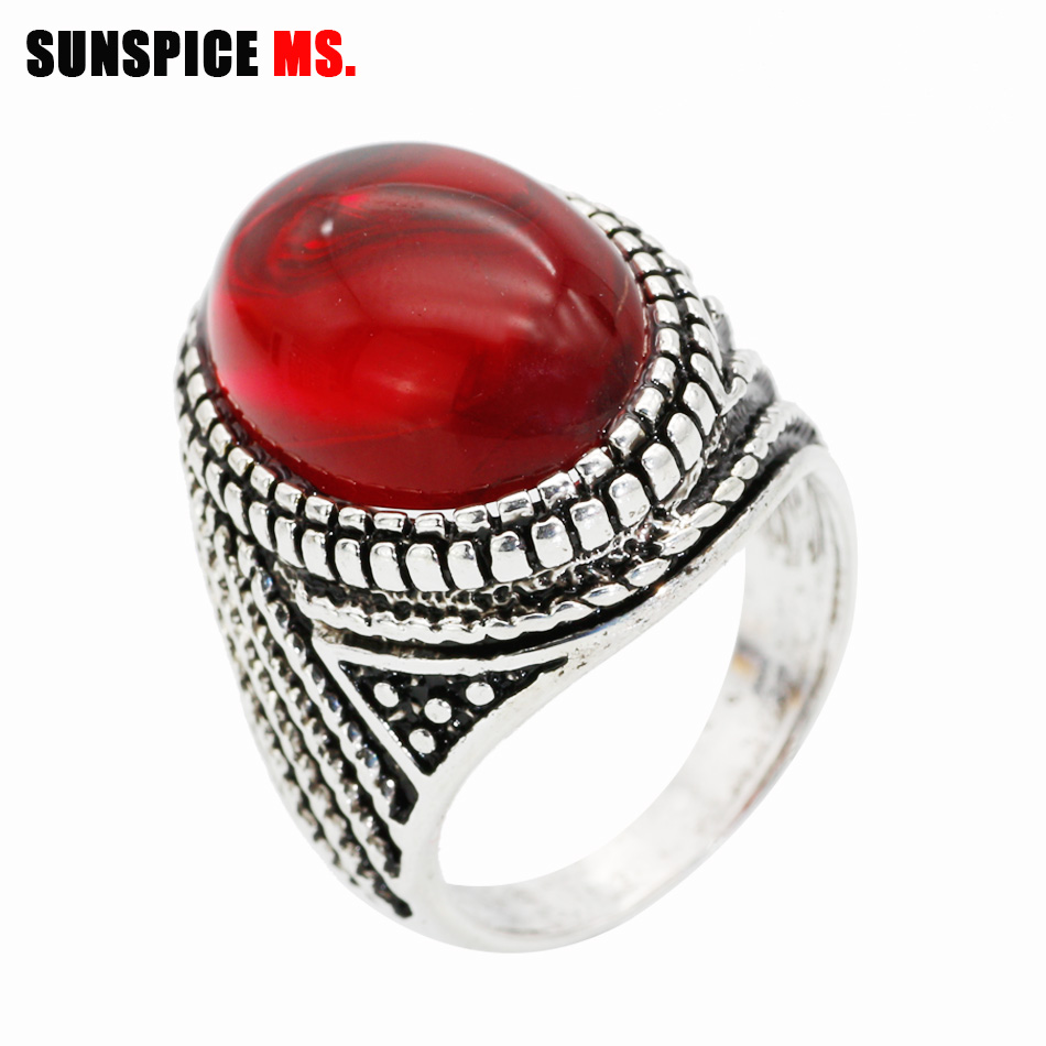SUNSPICE MS.Unique Bohemia Natural Stone Ring For Women Vintage Look Artificial  Antique Silver Plated Fashion Punk Jewelry