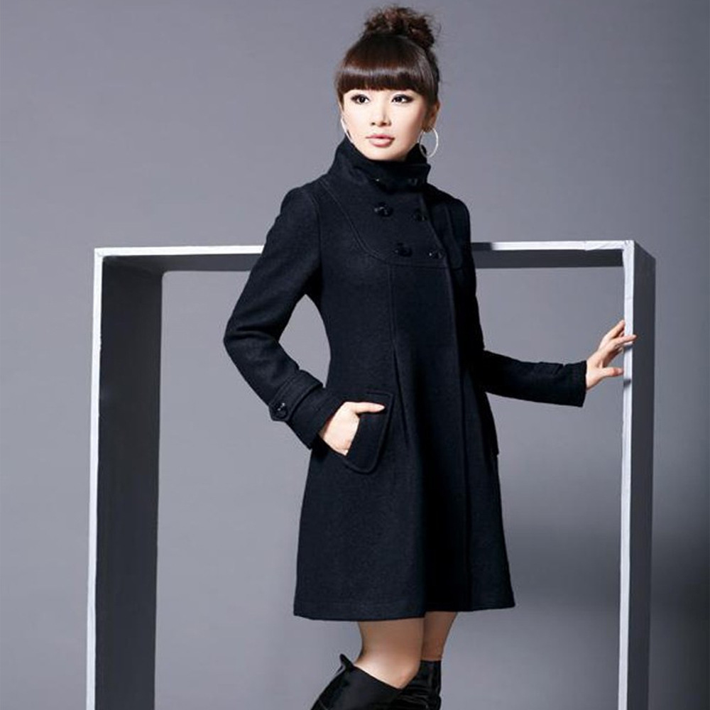 Elegant Coat for Women Pockets Casual Hooded Wool Coat and Jacket Solid Autumn Winter Women Clothes 2018 Plus Size 3XL 4XL 1